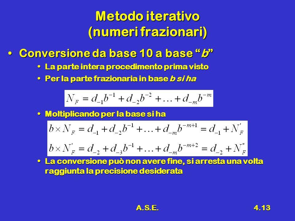 A.S.E.4.13 Metodo iterativo (numeri frazionari) Conversione da base 10 a base bConversione da base 10 a base b La parte intera procedimento prima vistoLa parte intera procedimento prima visto Per la parte frazionaria in base b si haPer la parte frazionaria in base b si ha Moltiplicando per la base si haMoltiplicando per la base si ha La conversione può non avere fine, si arresta una volta raggiunta la precisione desiderataLa conversione può non avere fine, si arresta una volta raggiunta la precisione desiderata