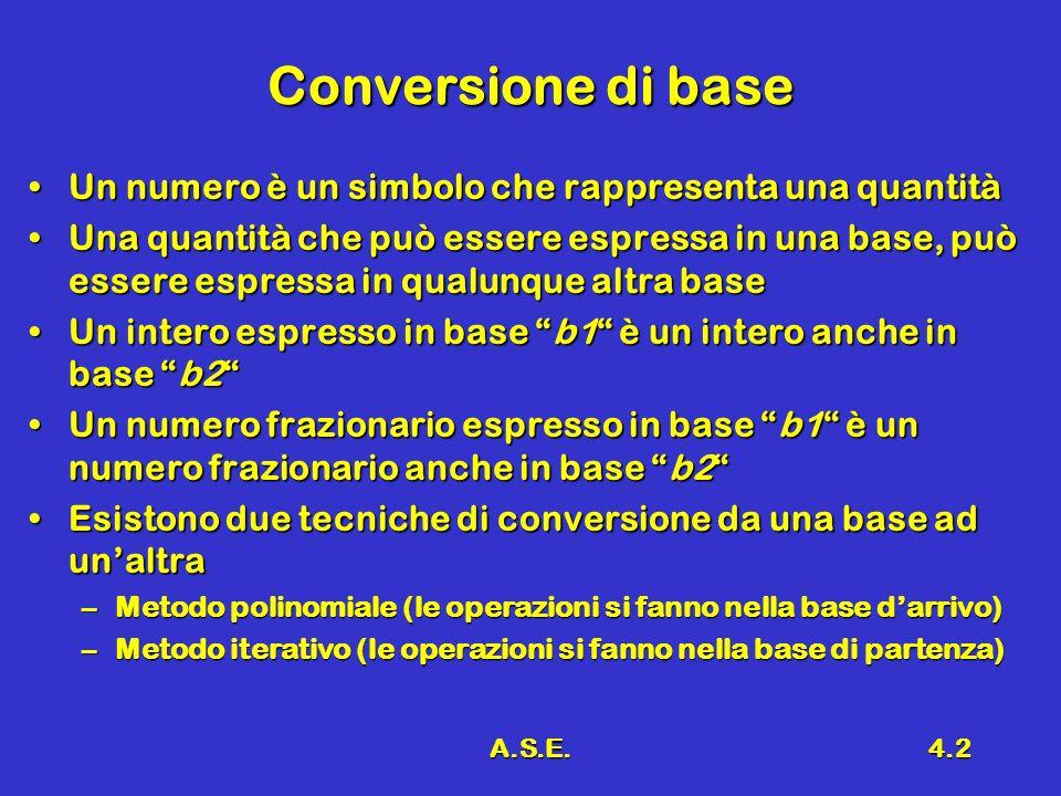 A.S.E.4.2 Conversione di base Un numero è un simbolo che rappresenta una quantitàUn numero è un simbolo che rappresenta una quantità Una quantità che può essere espressa in una base, può essere espressa in qualunque altra baseUna quantità che può essere espressa in una base, può essere espressa in qualunque altra base Un intero espresso in base b1 è un intero anche in base b2Un intero espresso in base b1 è un intero anche in base b2 Un numero frazionario espresso in base b1 è un numero frazionario anche in base b2Un numero frazionario espresso in base b1 è un numero frazionario anche in base b2 Esistono due tecniche di conversione da una base ad unaltraEsistono due tecniche di conversione da una base ad unaltra –Metodo polinomiale (le operazioni si fanno nella base darrivo) –Metodo iterativo (le operazioni si fanno nella base di partenza)