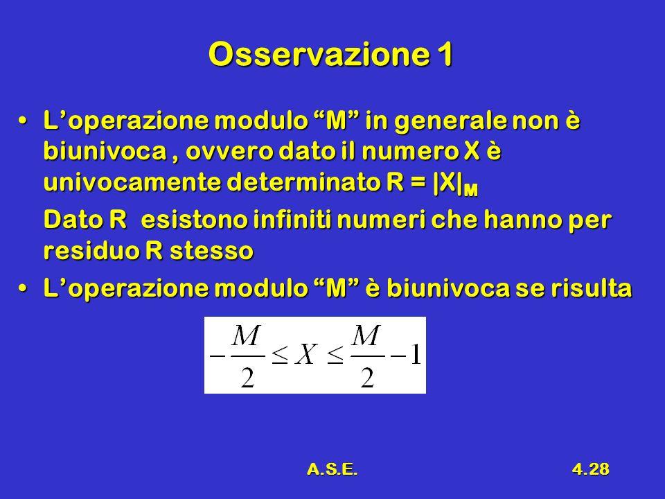 A.S.E.4.28 Osservazione 1 Loperazione modulo M in generale non è biunivoca, ovvero dato il numero X è univocamente determinato R = |X| MLoperazione mo
