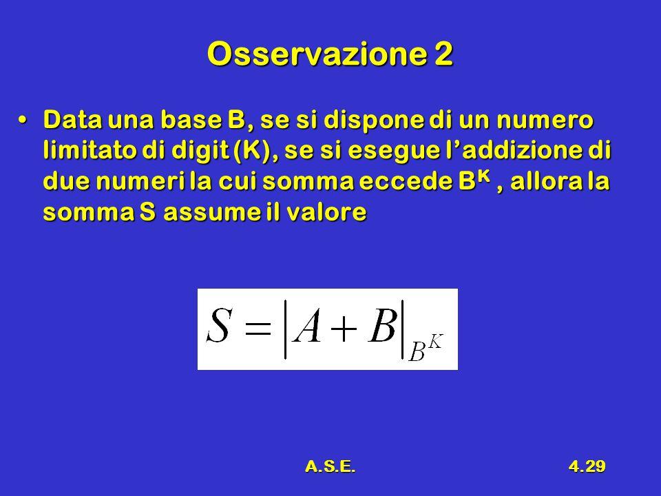 A.S.E.4.29 Osservazione 2 Data una base B, se si dispone di un numero limitato di digit (K), se si esegue laddizione di due numeri la cui somma eccede B K, allora la somma S assume il valoreData una base B, se si dispone di un numero limitato di digit (K), se si esegue laddizione di due numeri la cui somma eccede B K, allora la somma S assume il valore