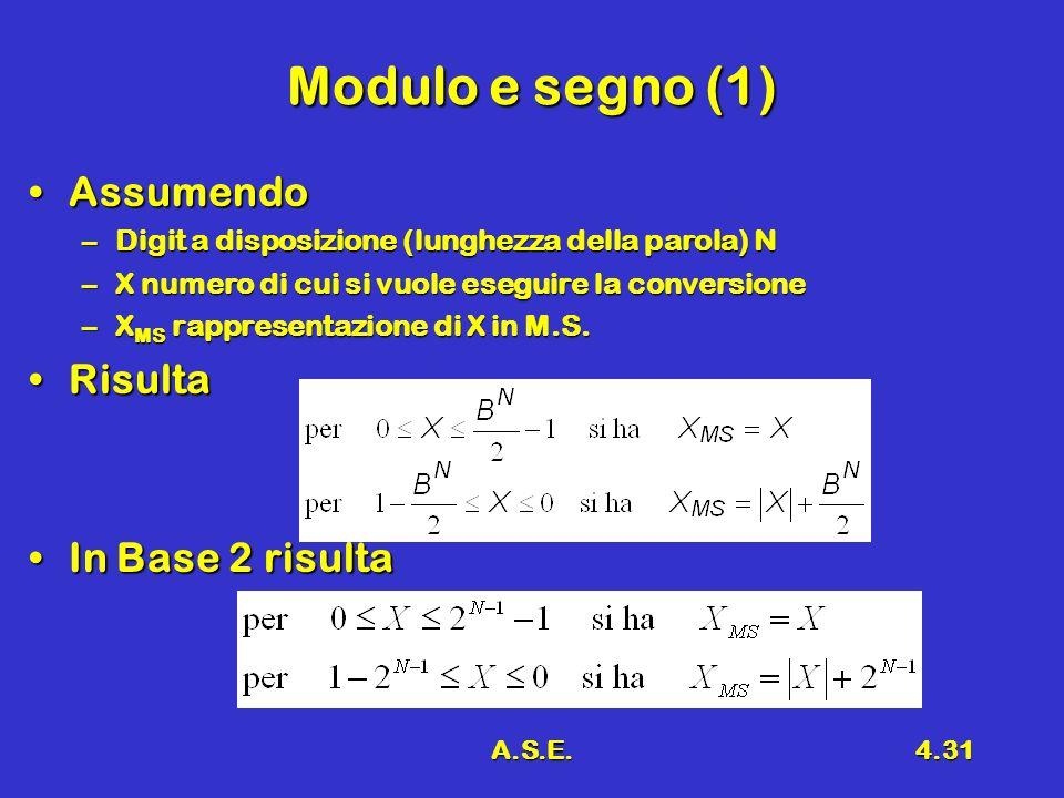 A.S.E.4.31 Modulo e segno (1) AssumendoAssumendo –Digit a disposizione (lunghezza della parola) N –X numero di cui si vuole eseguire la conversione –X MS rappresentazione di X in M.S.