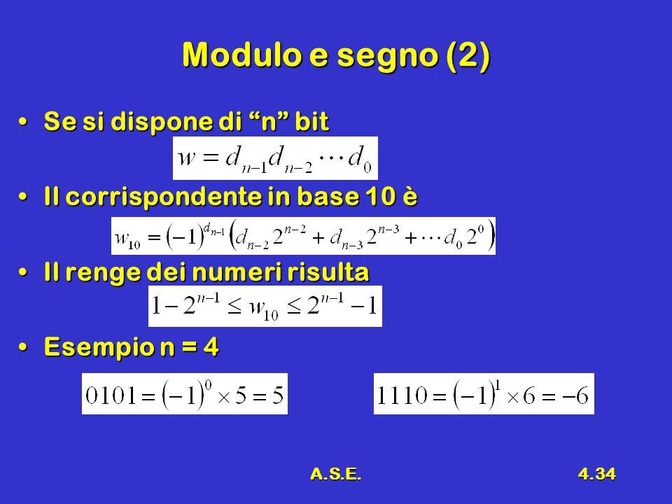 A.S.E.4.34 Modulo e segno (2) Se si dispone di n bitSe si dispone di n bit Il corrispondente in base 10 èIl corrispondente in base 10 è Il renge dei numeri risultaIl renge dei numeri risulta Esempio n = 4Esempio n = 4