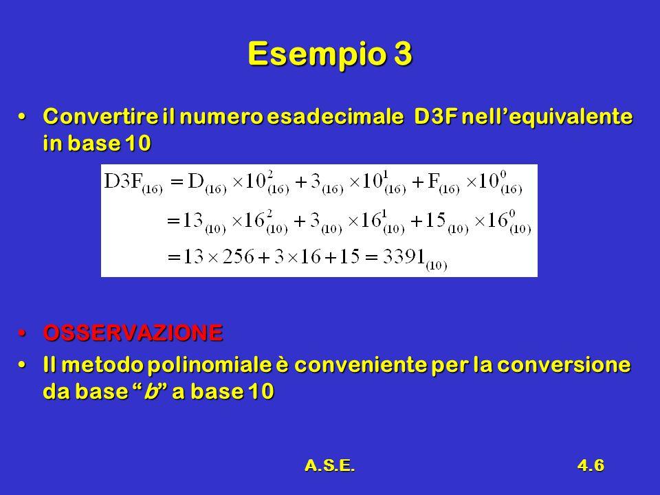 A.S.E.4.6 Esempio 3 Convertire il numero esadecimale D3F nellequivalente in base 10Convertire il numero esadecimale D3F nellequivalente in base 10 OSS