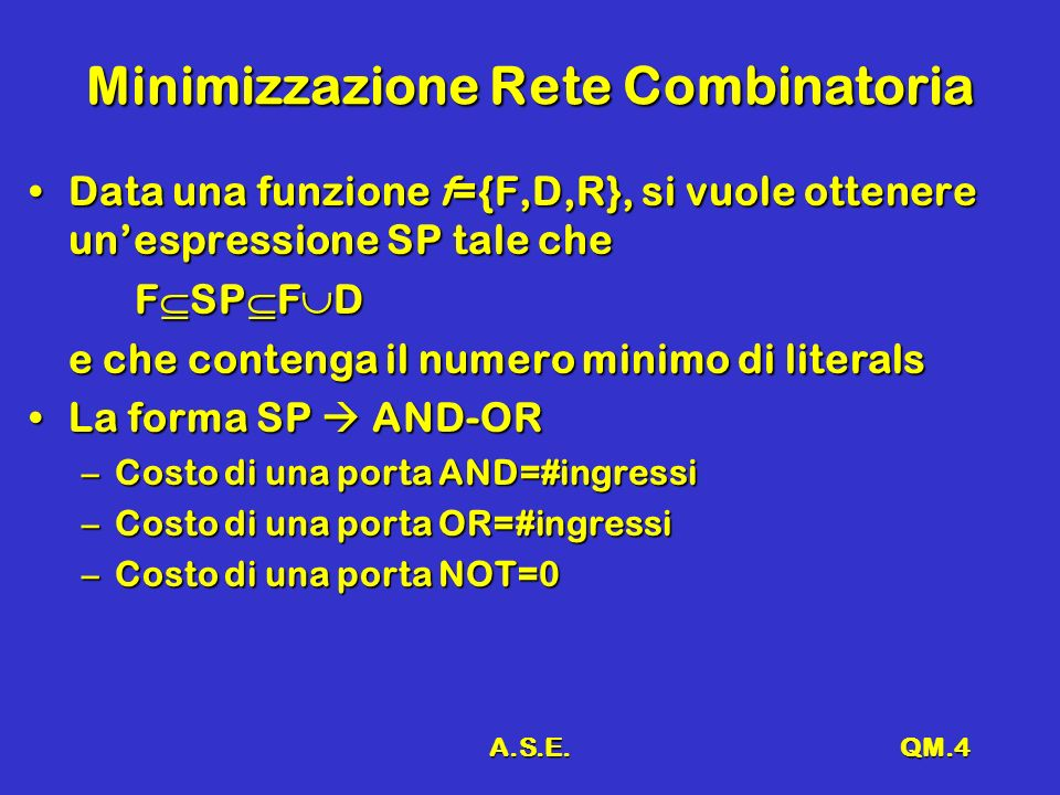 A.S.E.QM.4 Minimizzazione Rete Combinatoria Data una funzione f={F,D,R}, si vuole ottenere unespressione SP tale cheData una funzione f={F,D,R}, si vuole ottenere unespressione SP tale che F SP F D e che contenga il numero minimo di literals La forma SP AND-ORLa forma SP AND-OR –Costo di una porta AND=#ingressi –Costo di una porta OR=#ingressi –Costo di una porta NOT=0