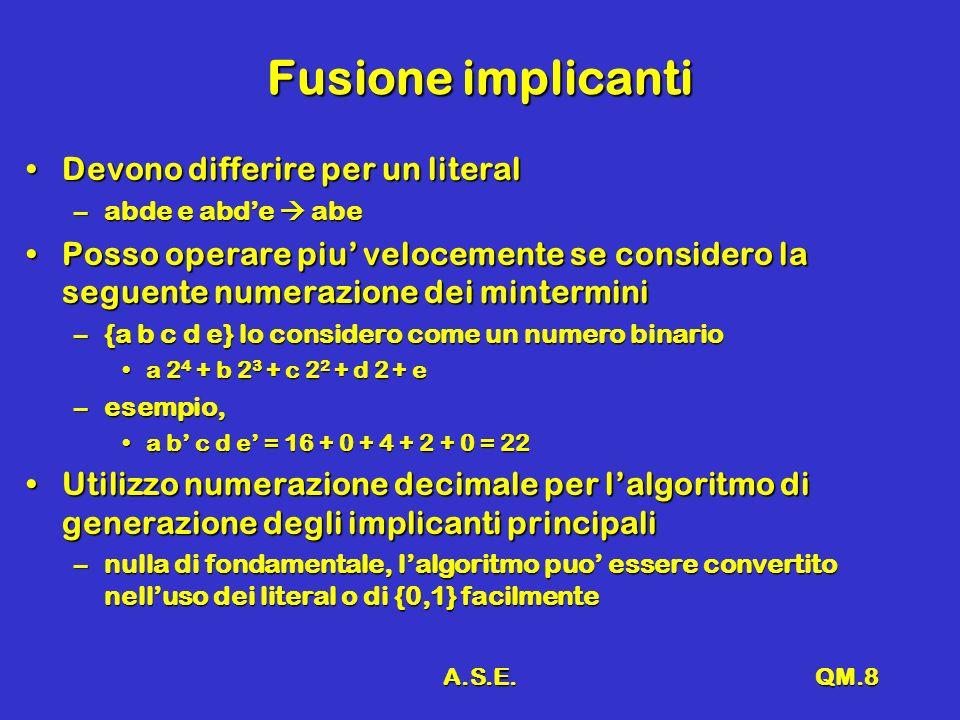 A.S.E.QM.8 Fusione implicanti Devono differire per un literalDevono differire per un literal –abde e abde abe Posso operare piu velocemente se considero la seguente numerazione dei minterminiPosso operare piu velocemente se considero la seguente numerazione dei mintermini –{a b c d e} lo considero come un numero binario a 2 4 + b 2 3 + c 2 2 + d 2 + ea 2 4 + b 2 3 + c 2 2 + d 2 + e –esempio, a b c d e = 16 + 0 + 4 + 2 + 0 = 22a b c d e = 16 + 0 + 4 + 2 + 0 = 22 Utilizzo numerazione decimale per lalgoritmo di generazione degli implicanti principaliUtilizzo numerazione decimale per lalgoritmo di generazione degli implicanti principali –nulla di fondamentale, lalgoritmo puo essere convertito nelluso dei literal o di {0,1} facilmente