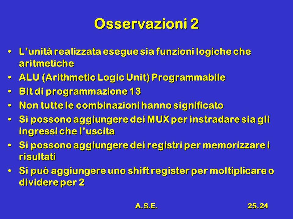 A.S.E.25.24 Osservazioni 2 Lunità realizzata esegue sia funzioni logiche che aritmeticheLunità realizzata esegue sia funzioni logiche che aritmetiche