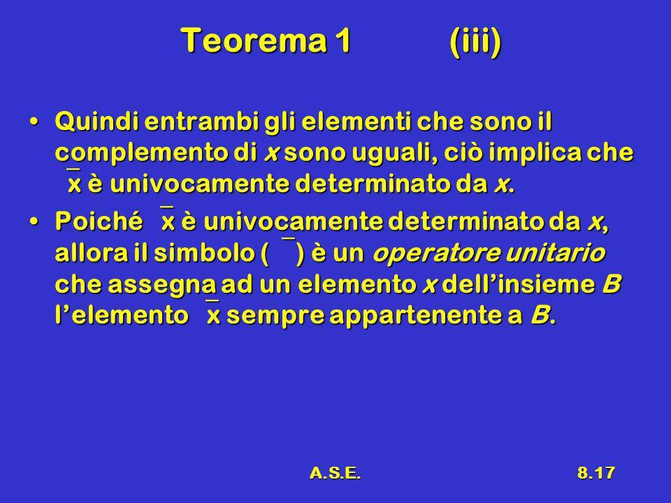 A.S.E.8.17 Teorema 1(iii) Quindi entrambi gli elementi che sono il complemento di x sono uguali, ciò implica che x è univocamente determinato da x.Quindi entrambi gli elementi che sono il complemento di x sono uguali, ciò implica che x è univocamente determinato da x.