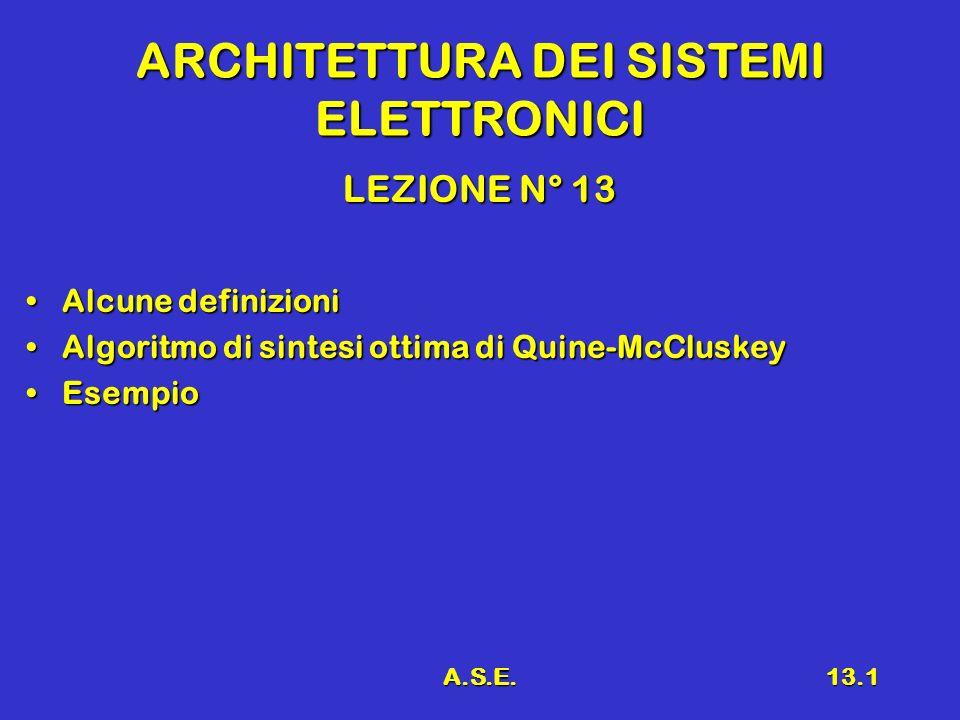 A.S.E.13.1 ARCHITETTURA DEI SISTEMI ELETTRONICI LEZIONE N° 13 Alcune definizioniAlcune definizioni Algoritmo di sintesi ottima di Quine-McCluskeyAlgoritmo di sintesi ottima di Quine-McCluskey EsempioEsempio