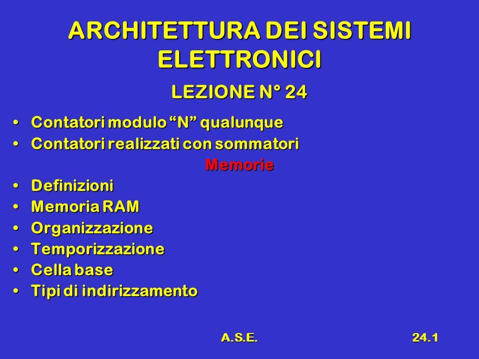 A.S.E.24.1 ARCHITETTURA DEI SISTEMI ELETTRONICI LEZIONE N° 24 Contatori modulo N qualunqueContatori modulo N qualunque Contatori realizzati con sommat