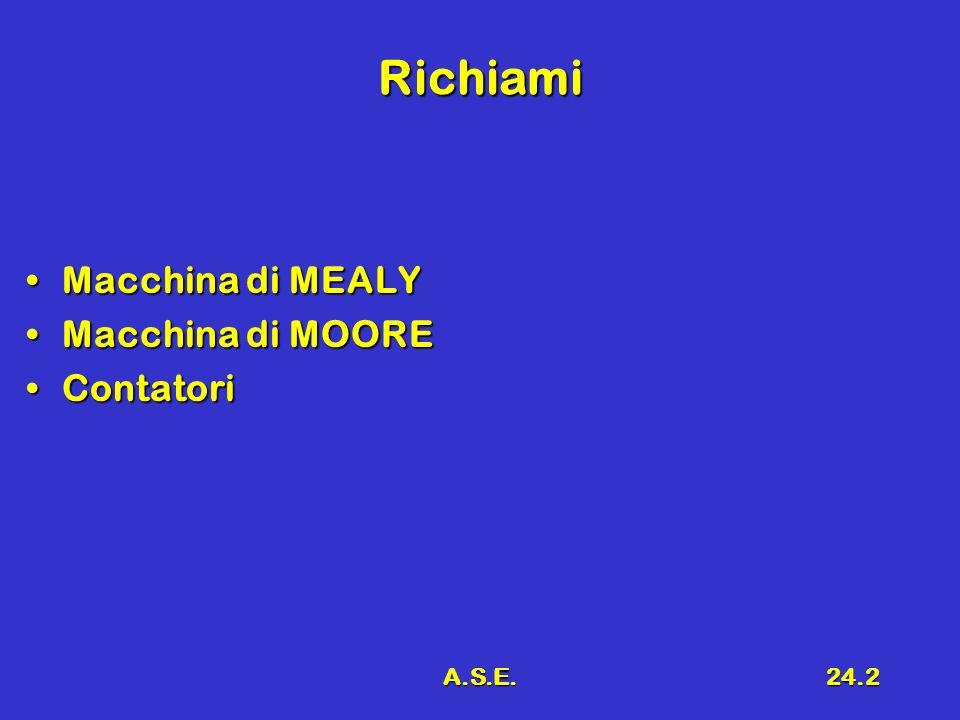 A.S.E.24.2 Richiami Macchina di MEALYMacchina di MEALY Macchina di MOOREMacchina di MOORE ContatoriContatori