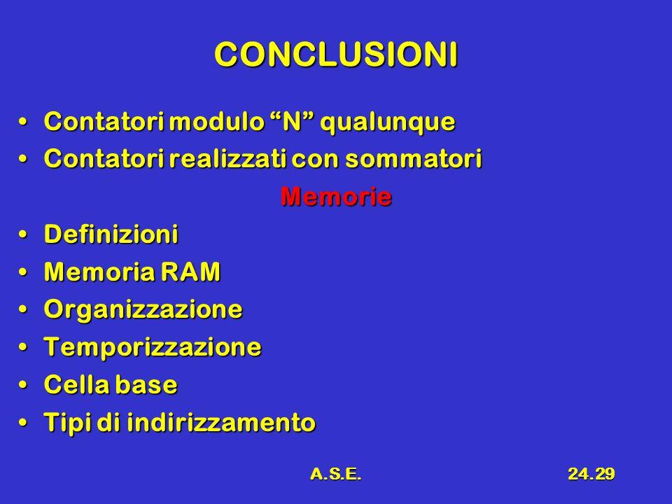 A.S.E.24.29 CONCLUSIONI Contatori modulo N qualunqueContatori modulo N qualunque Contatori realizzati con sommatoriContatori realizzati con sommatoriM