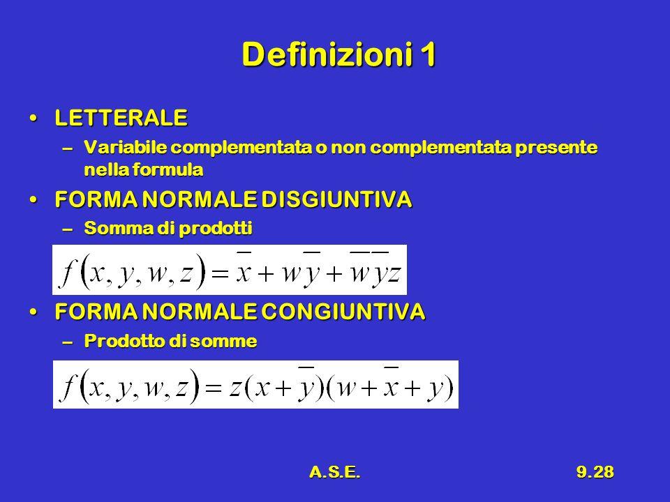 A.S.E.9.28 Definizioni 1 LETTERALELETTERALE –Variabile complementata o non complementata presente nella formula FORMA NORMALE DISGIUNTIVAFORMA NORMALE DISGIUNTIVA –Somma di prodotti FORMA NORMALE CONGIUNTIVAFORMA NORMALE CONGIUNTIVA –Prodotto di somme
