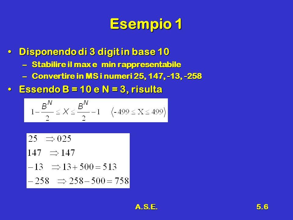 A.S.E.5.7 Esempio 2 Disponendo di 8 digit in base 2Disponendo di 8 digit in base 2 –Stabilire il max min rappresentabile –Convertire in MS i numeri 1111 (15), 1110101 (117), -10111 (-23), -1011001 (-89)
