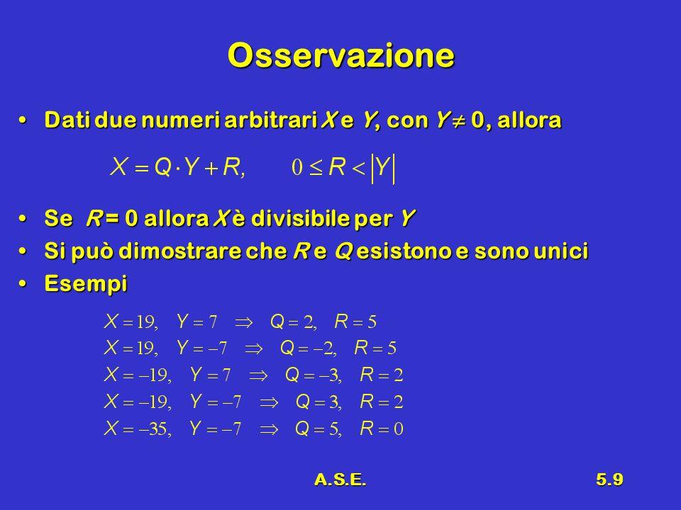 A.S.E.5.10 Modulo M (1) X modulo M è il resto della divisione di X diviso M (intero positivo); si indica con due barre verticali e pedice MX modulo M è il resto della divisione di X diviso M (intero positivo); si indica con due barre verticali e pedice M R è detto anche residuo e risultaR è detto anche residuo e risulta EsempioEsempio Intero di X diviso M