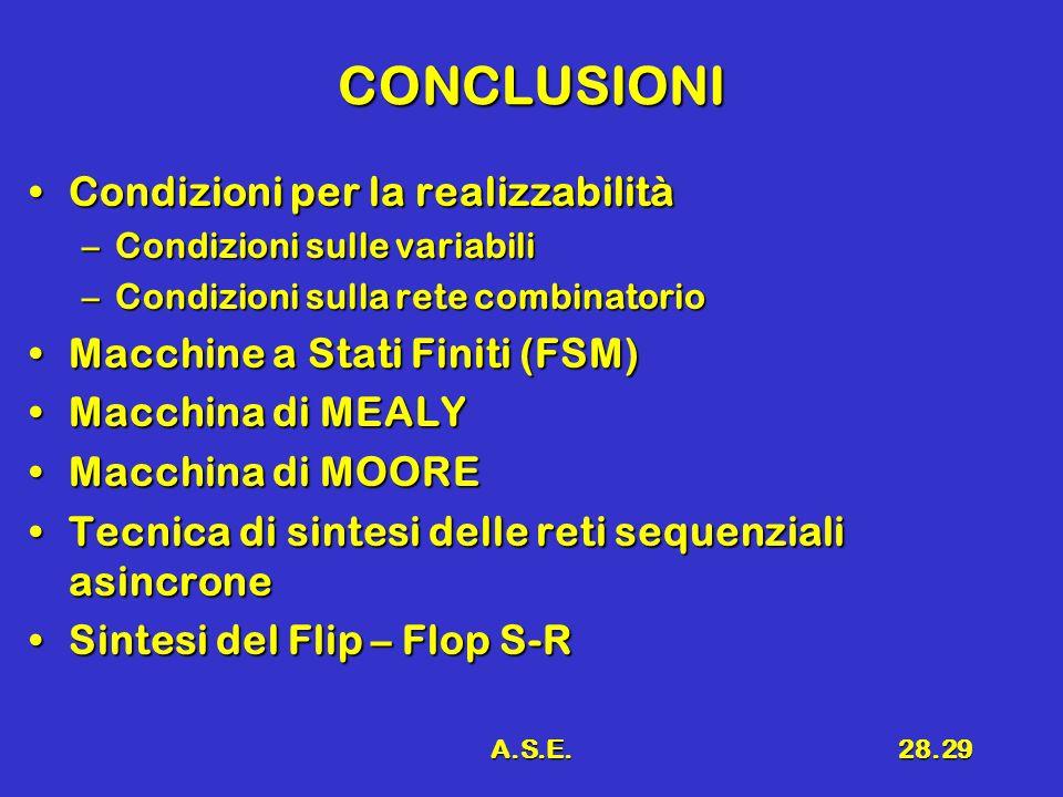 A.S.E.28.29 CONCLUSIONI Condizioni per la realizzabilitàCondizioni per la realizzabilità –Condizioni sulle variabili –Condizioni sulla rete combinator