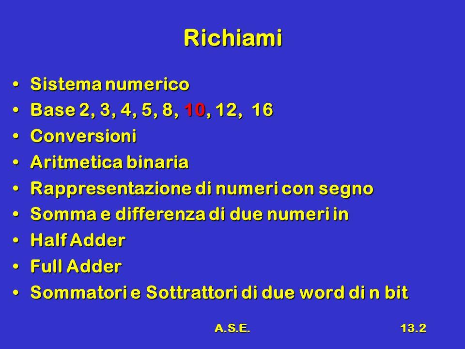 A.S.E.13.2 Richiami Sistema numericoSistema numerico Base 2, 3, 4, 5, 8, 10, 12, 16Base 2, 3, 4, 5, 8, 10, 12, 16 ConversioniConversioni Aritmetica binariaAritmetica binaria Rappresentazione di numeri con segnoRappresentazione di numeri con segno Somma e differenza di due numeri inSomma e differenza di due numeri in Half AdderHalf Adder Full AdderFull Adder Sommatori e Sottrattori di due word di n bitSommatori e Sottrattori di due word di n bit