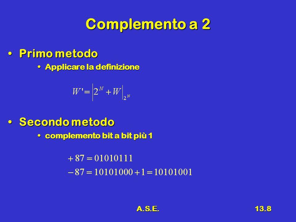A.S.E.13.8 Complemento a 2 Primo metodoPrimo metodo Applicare la definizioneApplicare la definizione Secondo metodoSecondo metodo complemento bit a bi