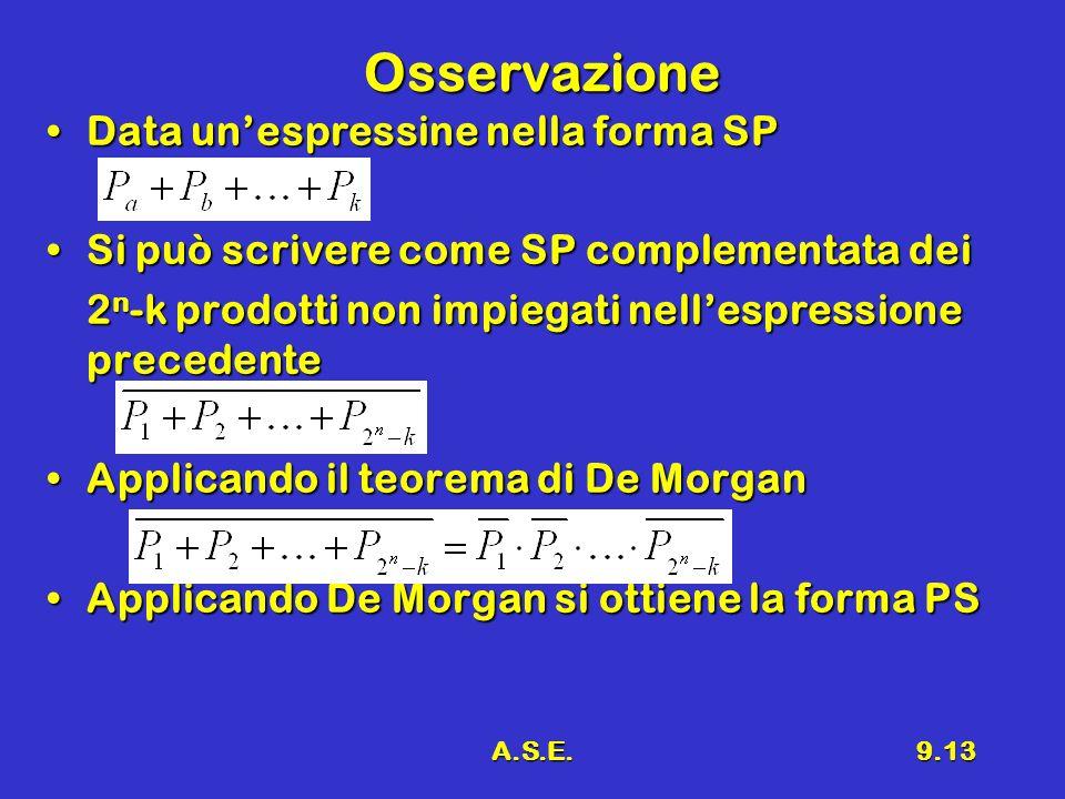 A.S.E.9.13 Osservazione Data unespressine nella forma SPData unespressine nella forma SP Si può scrivere come SP complementata deiSi può scrivere come