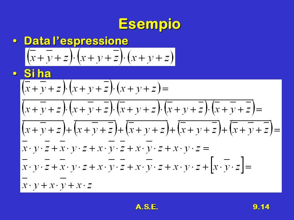 A.S.E.9.14 Esempio Data lespressioneData lespressione Si haSi ha
