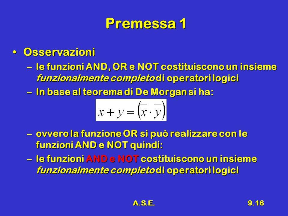 A.S.E.9.16 Premessa 1 OsservazioniOsservazioni –le funzioni AND, OR e NOT costituiscono un insieme funzionalmente completo di operatori logici –In bas