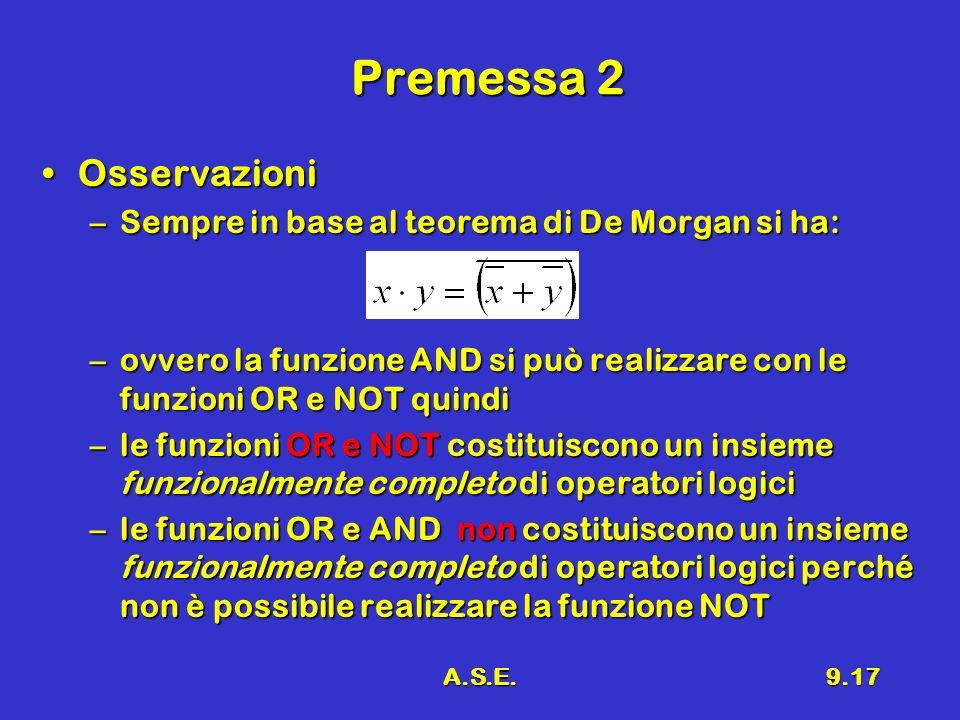 A.S.E.9.17 Premessa 2 OsservazioniOsservazioni –Sempre in base al teorema di De Morgan si ha: –ovvero la funzione AND si può realizzare con le funzion