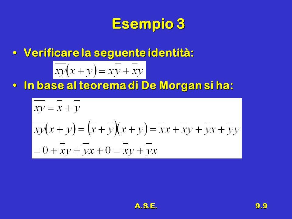 A.S.E.9.9 Esempio 3 Verificare la seguente identità:Verificare la seguente identità: In base al teorema di De Morgan si ha:In base al teorema di De Mo