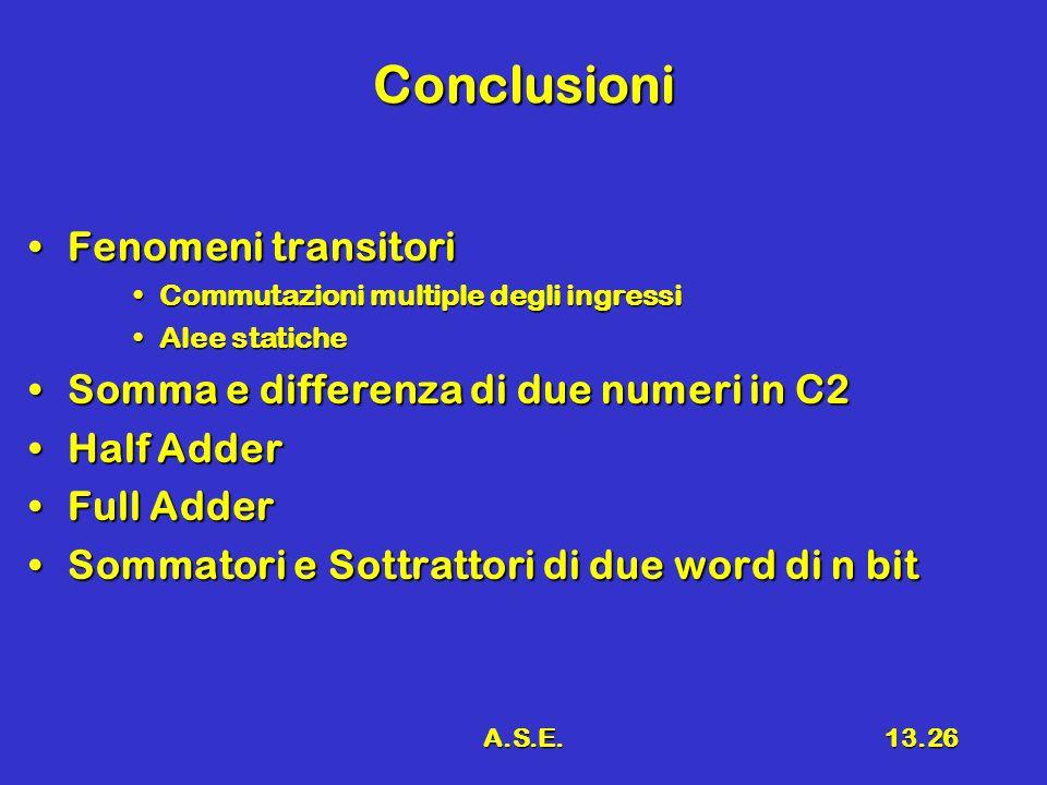 A.S.E.13.26 Conclusioni Fenomeni transitoriFenomeni transitori Commutazioni multiple degli ingressiCommutazioni multiple degli ingressi Alee staticheAlee statiche Somma e differenza di due numeri in C2Somma e differenza di due numeri in C2 Half AdderHalf Adder Full AdderFull Adder Sommatori e Sottrattori di due word di n bitSommatori e Sottrattori di due word di n bit
