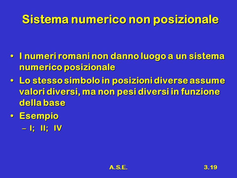 A.S.E.3.19 Sistema numerico non posizionale I numeri romani non danno luogo a un sistema numerico posizionaleI numeri romani non danno luogo a un sist