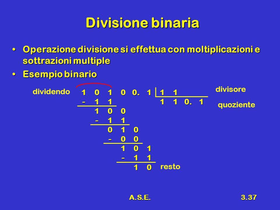 A.S.E.3.37 Divisione binaria Operazione divisione si effettua con moltiplicazioni e sottrazioni multipleOperazione divisione si effettua con moltiplic