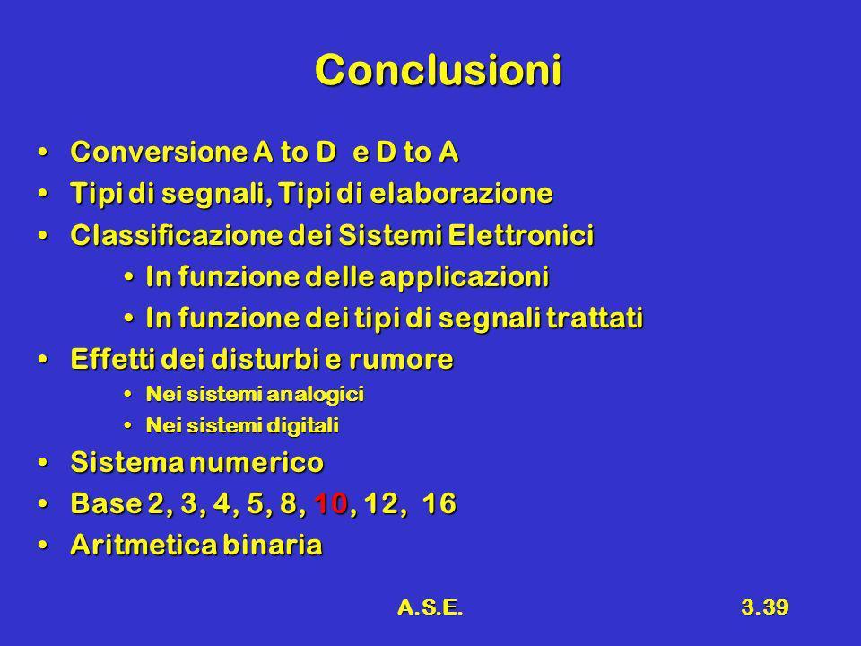 A.S.E.3.39 Conclusioni Conversione A to D e D to AConversione A to D e D to A Tipi di segnali, Tipi di elaborazioneTipi di segnali, Tipi di elaborazio