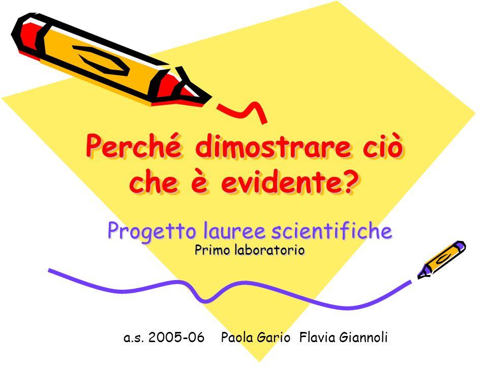 Perché dimostrare ciò che è evidente.Progetto lauree scientifiche Primo laboratorio a.s.