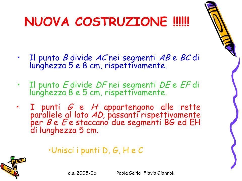 a.s. 2005-06 Paola Gario Flavia Giannoli In conclusione: BG ed HE NON sono lunghi 5 Lerrore è stato valutare uguale a 5, ad occhio, la lunghezza dei d