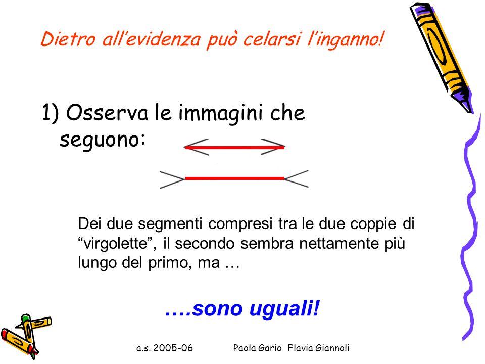 Perché dimostrare ciò che è evidente? Progetto lauree scientifiche Primo laboratorio a.s. 2005-06 Paola Gario Flavia Giannoli