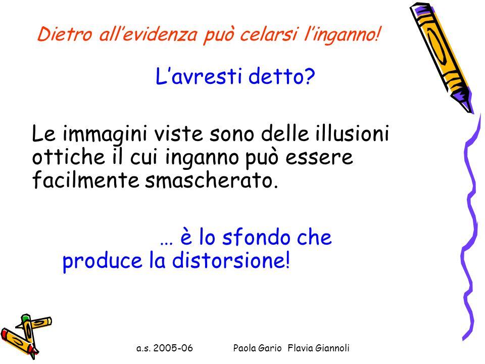 a.s. 2005-06 Paola Gario Flavia Giannoli Dietro allevidenza può celarsi linganno! 3) Ed infine osserva le due figure: cosa rappresentano, secondo te,