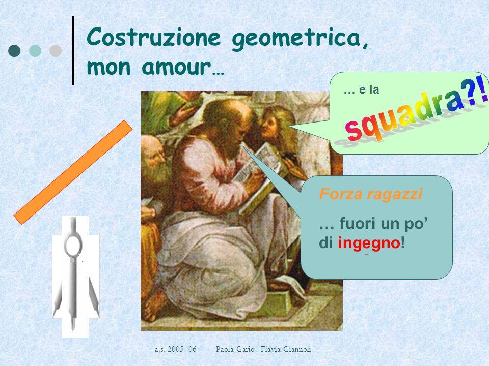 a.s. 2005 -06 Paola Gario Flavia Giannoli Costruzione geometrica, mon amour … Vi ho lasciato solo riga e compasso! Forza ragazzi … fuori un po di inge