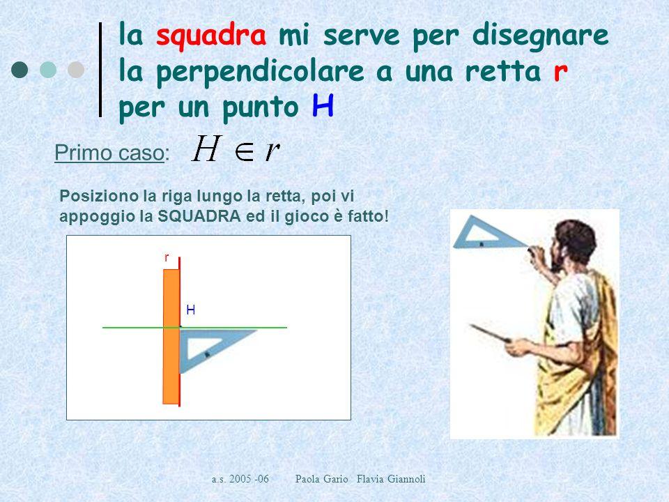 a.s. 2005 -06 Paola Gario Flavia Giannoli la squadra mi serve per disegnare la perpendicolare a una retta r per un punto H Primo caso: Posiziono la ri