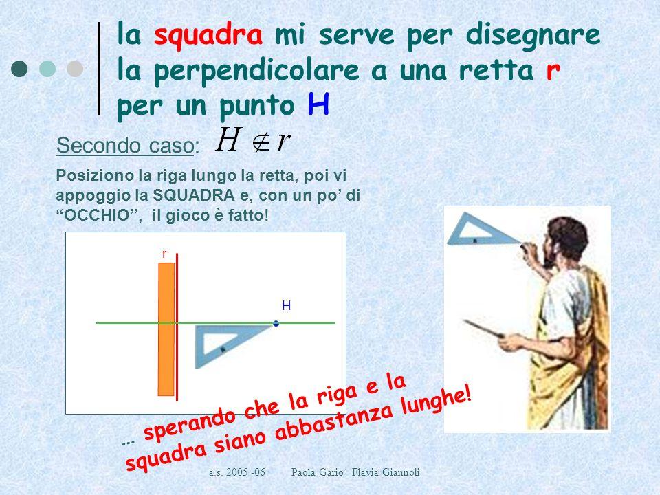 a.s. 2005 -06 Paola Gario Flavia Giannoli la squadra mi serve per disegnare la perpendicolare a una retta r per un punto H Secondo caso: Posiziono la