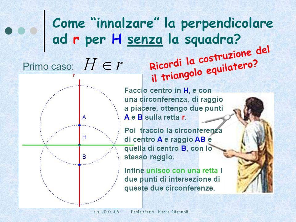a.s. 2005 -06 Paola Gario Flavia Giannoli Come innalzare la perpendicolare ad r per H senza la squadra? Primo caso: r H B A Faccio centro in H, e con