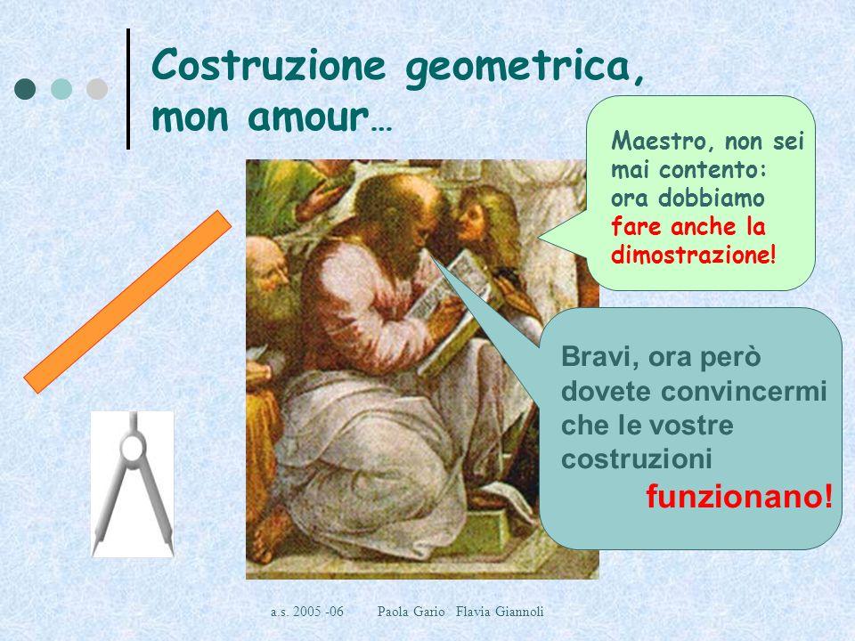 a.s. 2005 -06 Paola Gario Flavia Giannoli Costruzione geometrica, mon amour … Maestro, non sei mai contento: ora dobbiamo fare anche la dimostrazione!
