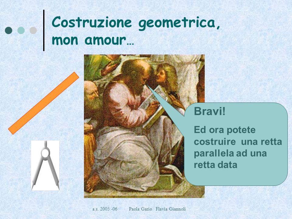 a.s. 2005 -06 Paola Gario Flavia Giannoli Costruzione geometrica, mon amour … Bravi! Ed ora potete costruire una retta parallela ad una retta data