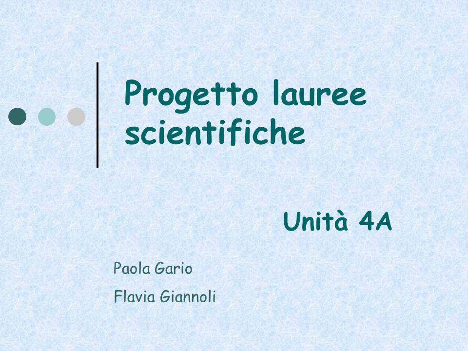 Progetto lauree scientifiche Unità 4A Paola Gario Flavia Giannoli