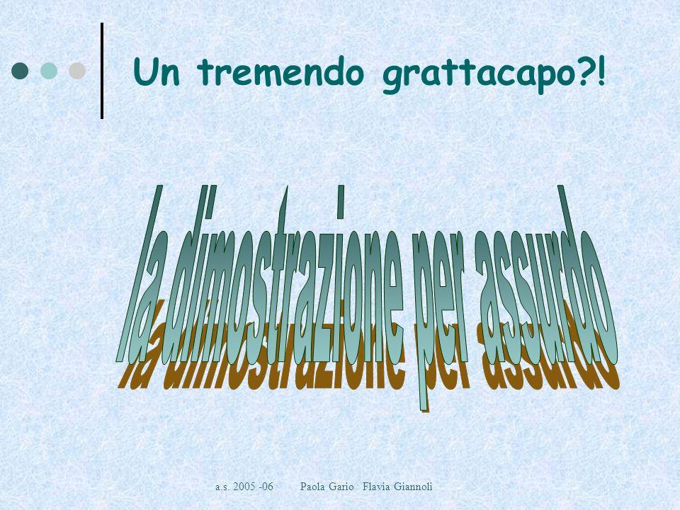a.s.2005 -06 Paola Gario Flavia Giannoli Se devo dimostrare una tesi perché devo negarla.
