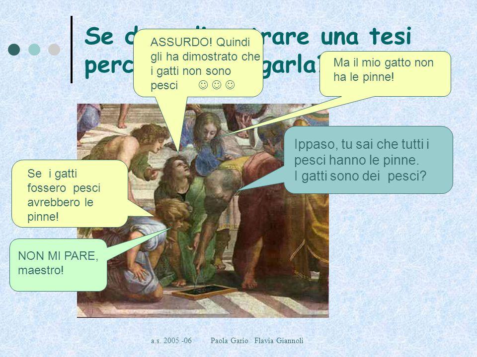 a.s. 2005 -06 Paola Gario Flavia Giannoli Se devo dimostrare una tesi perché devo negarla? Non è poi così strano! NON MI PARE, maestro! Se i gatti fos