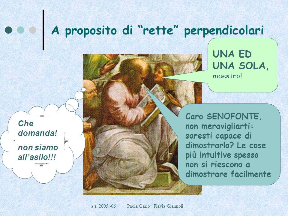 a.s. 2005 -06 Paola Gario Flavia Giannoli A proposito di rette perpendicolari INFINITE, maestro! Dunque, Ippaso, quante sono le rette passanti per il