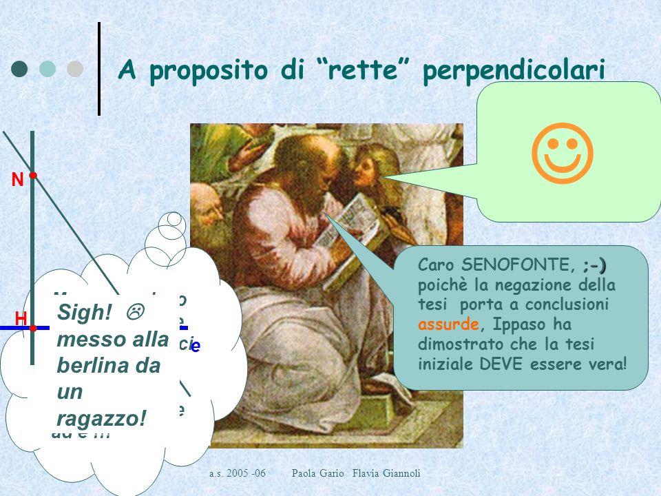 a.s. 2005 -06 Paola Gario Flavia Giannoli A proposito di rette perpendicolari Maestro… potremmo fare finta che ce ne sia unaltra ! BENE, Ippaso, suppo