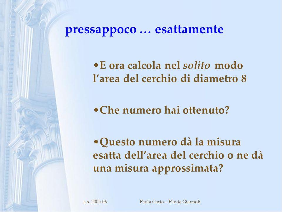a.s. 2005-06Paola Gario – Flavia Giannoli pressappoco … esattamente E ora calcola nel solito modo larea del cerchio di diametro 8 Che numero hai otten