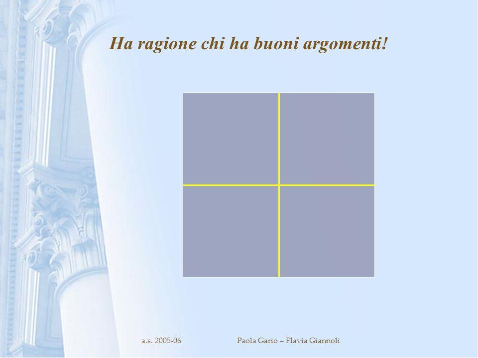 a.s. 2005-06Paola Gario – Flavia Giannoli Ha ragione chi ha buoni argomenti!