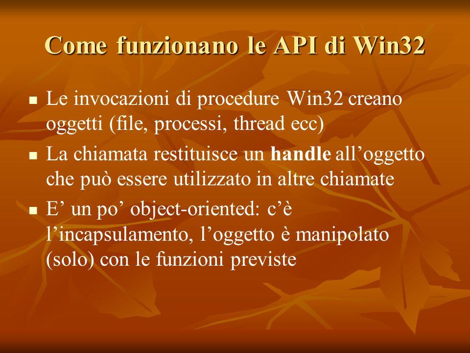 Come funzionano le API di Win32 Le invocazioni di procedure Win32 creano oggetti (file, processi, thread ecc) La chiamata restituisce un handle alloggetto che può essere utilizzato in altre chiamate E un po object-oriented: cè lincapsulamento, loggetto è manipolato (solo) con le funzioni previste