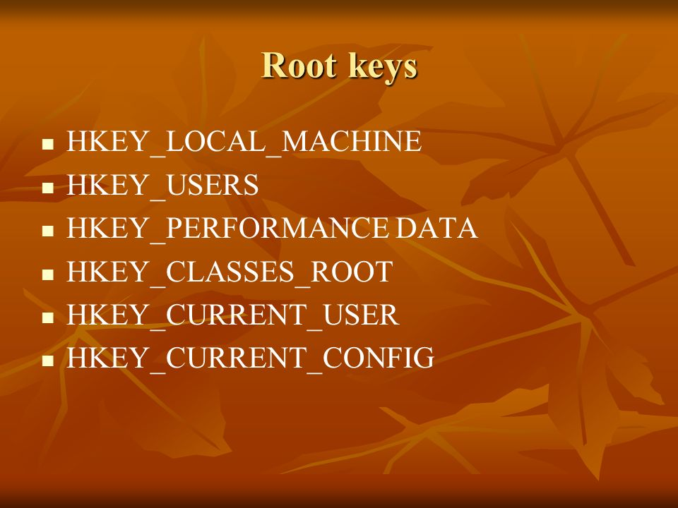 Root keys HKEY_LOCAL_MACHINE HKEY_USERS HKEY_PERFORMANCE DATA HKEY_CLASSES_ROOT HKEY_CURRENT_USER HKEY_CURRENT_CONFIG