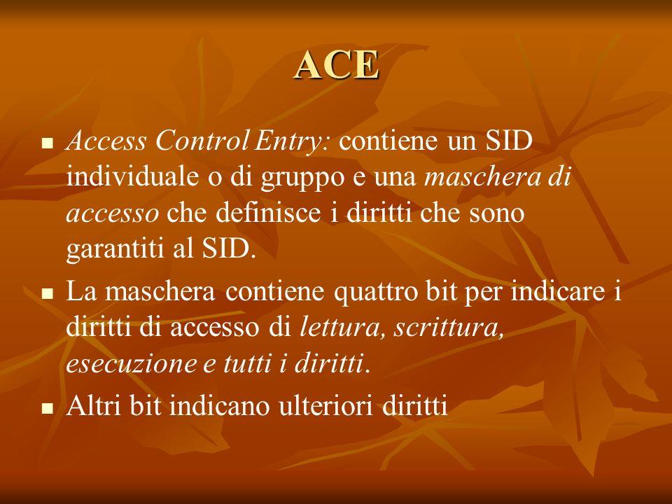 ACE Access Control Entry: contiene un SID individuale o di gruppo e una maschera di accesso che definisce i diritti che sono garantiti al SID.